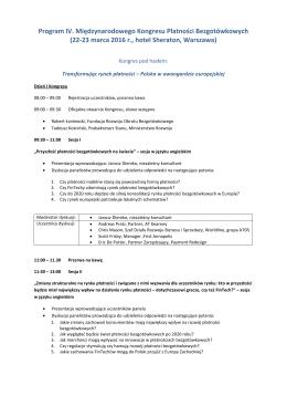 Program IV. Międzynarodowego Kongresu Płatności