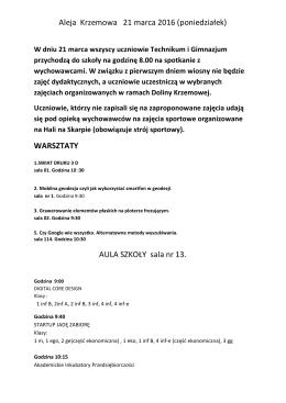Aleja Krzemowa 21 marca 2016 (poniedziałek) WARSZTATY AULA