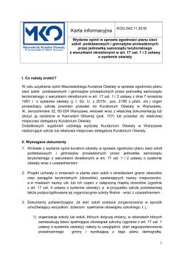 Karta informacyjna - Kuratorium Oświaty w Warszawie