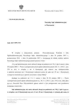 Stanowisko RPO - Rzecznik Praw Obywatelskich