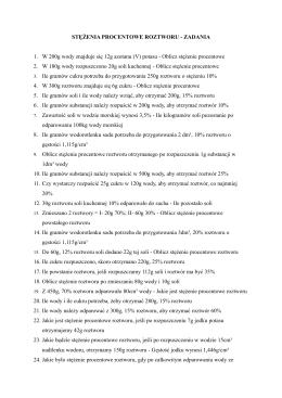 stężenia procentowe roztworu - zadania - chemiczne