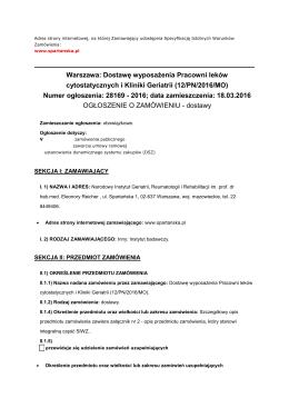 Ogłoszenie o zamówieniu - Narodowy Instytut Geriatrii