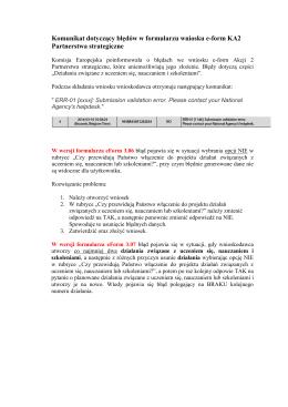 Komunikat dotyczący błędów w formularzu wniosku e