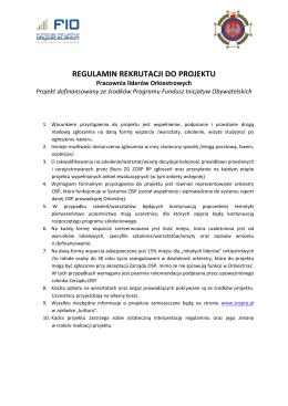 Regulamin rekrutacji