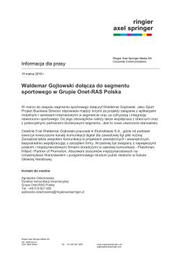Waldemar Gojtowski dołącza do segmentu sportowego w Grupie