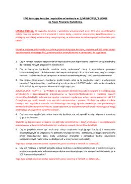 FAQ dotyczący kosztów i wydatków w konkursie nr 1/NPK/POWER