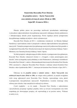 Stanowisko Rzecznika Praw Dziecka do projektu ustawy – Karta