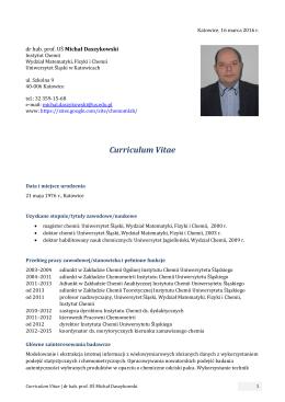 Curriculum Vitae - Uniwersytet Śląski