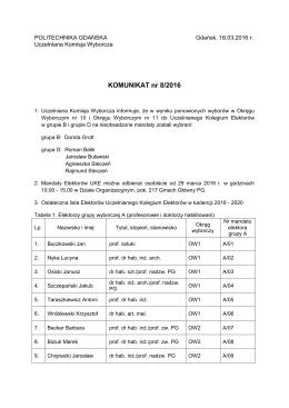 Komunikat UKW - Politechnika Gdańska