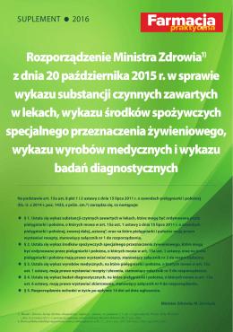 Rozporządzenie Ministra Zdrowia1) z dnia 20 października 2015 r