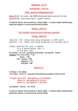 Harmonogram dla klas IV-VI