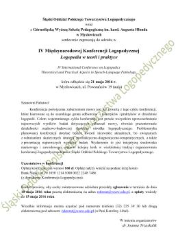 zaproszenie - PTL Oddział Śląski
