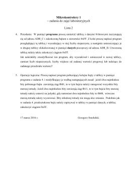 Mikrokontrolery 1 – zadania do zajęć laboratoryjnych Lista 2