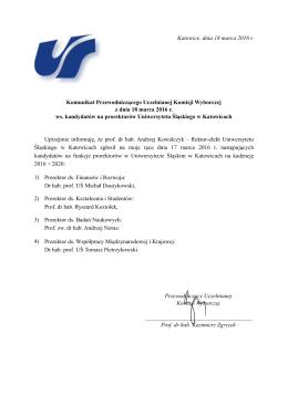 Komunikat Przewodniczącego Uczelnianej Komisji Wyborczej z 18
