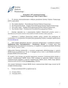pobierz komunikat - Komisja Nadzoru Finansowego