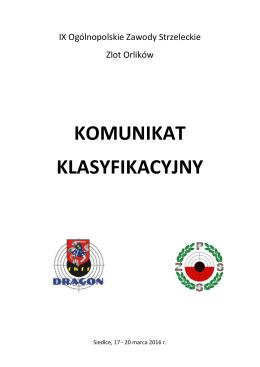 ATRAM - Zlot Orlików 2016 - KOMUNIKAT KLASYFIKACYJNY