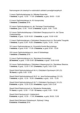 Harmonogram dni otwartych w radomskich szkołach