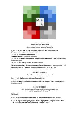 Program Festiwalu - V LO w Poznaniu
