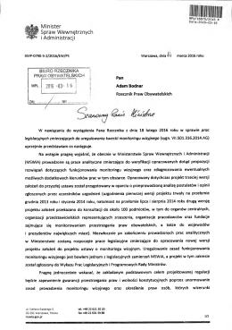 Odpowiedź Ministra Spraw Wewnętrznych i Administracji