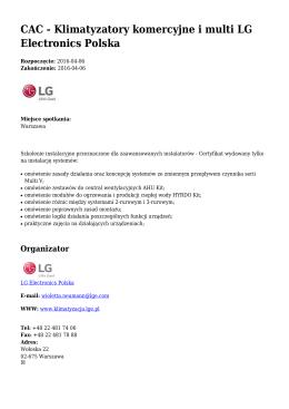 CAC - Klimatyzatory komercyjne i multi LG Electronics Polska