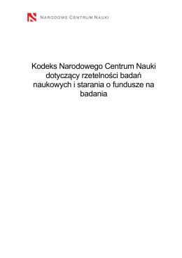 Kodeks Narodowego Centrum Nauki dotyczący rzetelności badań