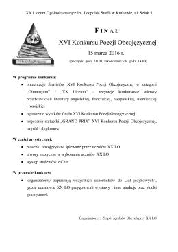 XVI Konkursu Poezji Obcojęzycznej