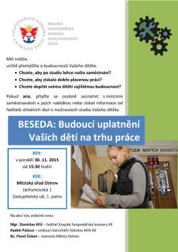 BESEDA: Budoucí uplatnění Vašich dětí na trhu práce