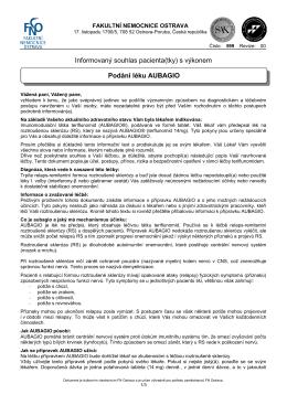 Podání léku AUBAGIO - Fakultní nemocnice Ostrava