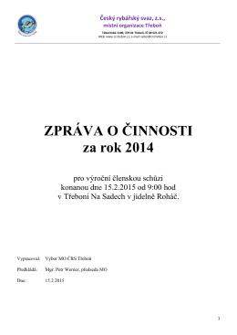 Výroční zpráva z VČS 2015