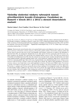 Výsledky sledování výskytu vybraných taxonů střevlíkovitých