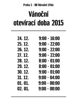 Vánoční otevírací doba 2015