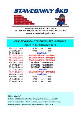 pracovní doba stavebniny škb - letovice od 21.12. 2015 do 04.01