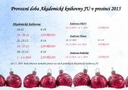 Provozní doba Akademické knihovny JU v prosinci 2015