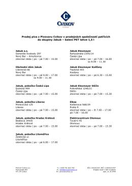 seznam prodejen - Pivovar Cvikov
