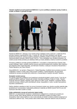Tebodin úspěšně provedl společnost BERA B.V. k první certifikaci