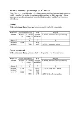 Příklad 3) – autovraky – původce Dopr. a.s., IČ
