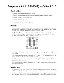 Programování I (PRM044) – Cvičení č. 3