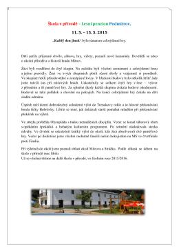 Škola v přírodě – Lesní penzion Podmitrov, 11. 5. – 15. 5. 2015