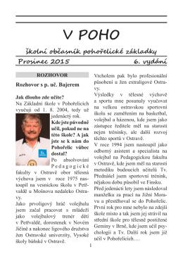 Školní časopis V POHO 6 - Základní škola Pohořelice