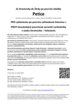 Petice - Vize nejen pro Prahu 6