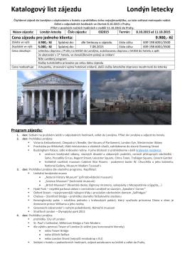 Katalogový list zájezdu Londýn letecky