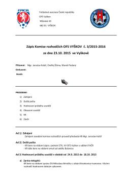 Zápis KR č.3 ze dne 20.10.2015