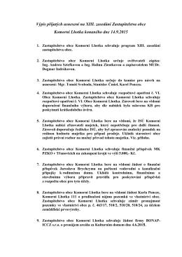 Výpis přijatých usnesení na XIII. zasedání