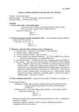 Zápis ze zasedání zastupitelstva obce dne 25.6.2015