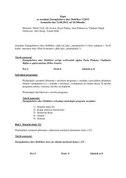 Zápis ze zasedání Zastupitelstva obce Dobříkov 5/2015 konaného