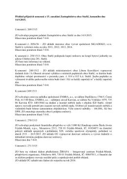 Přehled přijatých usnesení z 15. zasedání ZOe Staříč, konaného
