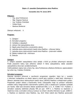 Zápis z veřejného zasedání zastupitelstva ze dne 19. 2. 2015.