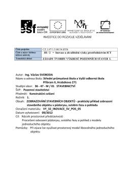 Autor : Ing. Václav SVOBODA Název a adresa školy: Střední