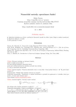 Aproximace funkcí a numerická derivace