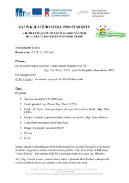 Zápis z I. kulatého stolu pro starosty v rámci projektu OP LZZ